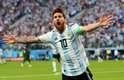 Messi comemora gol da Argentina sobre a Nigéria