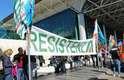 Protesto de trabalhadores da Alitalia em Fiumicino