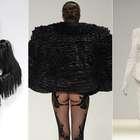 Estilista de Gaga desfila peças em preto e branco em Londres