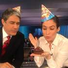 Bonner e Renata Vasconcellos comemoram 46º aniversário do JN