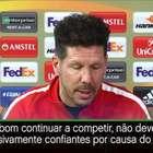 """Simeone: """"Atlético não deve estar confiante demais ..."""
