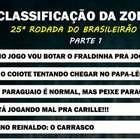 Classificação da Zoeira - 25ª rodada do Brasileirão 2019