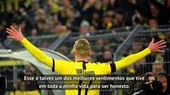 """Bundesliga: Haaland: """"Fico arrepiado jogando em frente ao Muro Amarelo da Dortmund"""""""