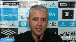 """GRÊMIO: Tiago Nunes fala sobre conversa com Diego Souza e elogia o craque: """"Um jogador com repertório técnico gigantesco"""""""