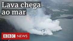Vulcão em erupção nas Canárias: lava atinge o oceano Atlântico