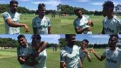 Thiago Santos brinca com Tchê Tchê em resenha animada na Academia de Futebol