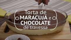 Torta de maracujá e chocolate de travessa
