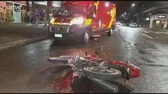 Batida entre carro e moto deixa homem ferido no Centro de Cascavel