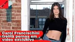 Top Carol Francischini treina pernas e glúteos em casa
