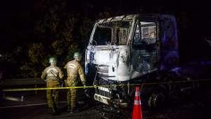 Encapuchados queman camión en Ercilla