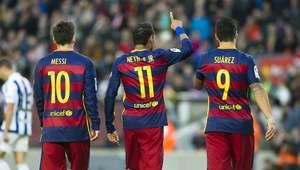 Neymar faz 2, trio MSN dá show e Barça goleia Real Sociedad