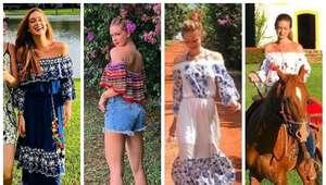 Marina Ruy Barbosa acerta com 4 looks de decote ciganinha