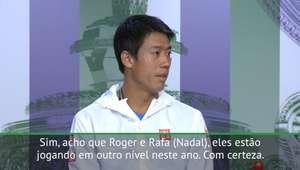 """TÊNIS: Wimbledon: Nishikori: """"Federer e Nadal estão num ..."""