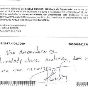 Lula escreve em intimação que é inocente e vai recorrer