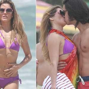 De biquíni, Deborah Secco beija Rodrigo Simas em gravação