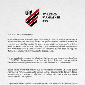 Em carta aberta para sócios, Athletico pede cooperação e sacrifício