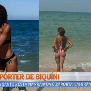 Em Portugal, repórter usa biquíni ao cobrir praias no verão