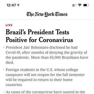 Imprensa internacional repercute Bolsonaro com covid-19