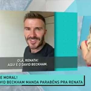 Renata Fan fica de 'queixo caído' com mensagem de David Beckham no 'Jogo Aberto'