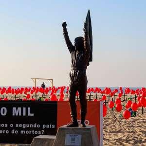 ONG protesta no Rio por quase 100 mil mortos de covid-19