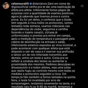"Rafael Moura responde Daniel Alves: ""Seguimos os protocolos"""