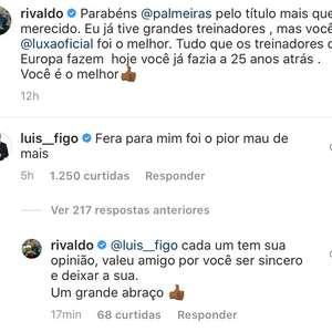 """Figo alfineta Luxemburgo em postagem de Rivaldo: """"Para ..."""