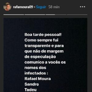 Rafael Moura divulga identidade dos jogadores infectados ...