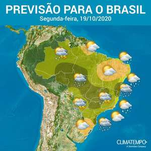 Segunda com temporal no Sudeste, Centro-Oeste e Norte do Brasil