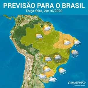 Muita chuva sobre o Brasil nesta terça-feira