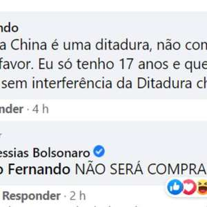 'Não será comprada', diz Bolsonaro sobre vacina chinesa