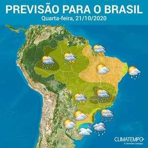 Quarta-feira com risco de chuva de forte em vários estados do BR