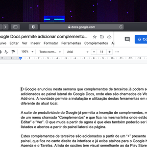 Google Docs permite adicionar complementos na barra lateral
