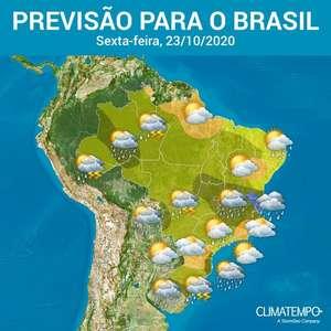 Risco de chuva forte aumenta sobre o Brasil hoje