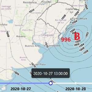 Ciclone provoca chuva e vento forte no Sul