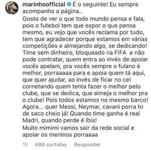 """Marinho rebate críticas da torcida: """"Quando ganha é o ..."""
