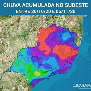 Sudeste do Brasil terá muita chuva nos próximos dias