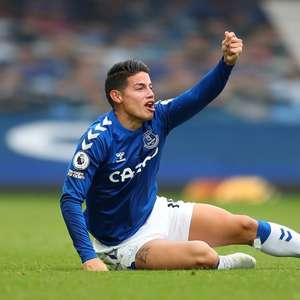 Com lesão no testículo, James Rodríguez desfalca Everton