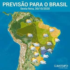 Sexta-feira com muita chuva sobre o Brasil