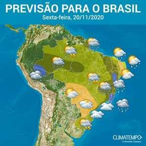 Muita chuva no Norte e no Nordeste do Brasil
