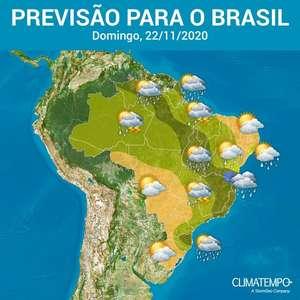 Domingo com chuva forte em várias áreas do Brasil