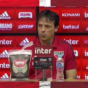 """SÃO PAULO: Diniz não vê como vantagem estar no G4 com três jogos a menos: """"Não ajuda, nem atrapalha"""""""