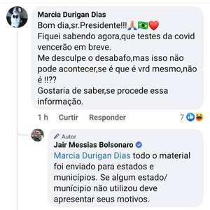 Bolsonaro ignora testes encalhados e culpa Estados