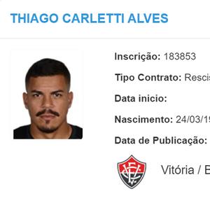 Após confirmar sua rescisão de contrato, Thiago Carleto se despede do Vitória