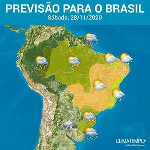 Sábado de calor e pancadas de chuva em várias áreas do BR