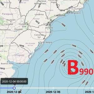 Ciclone extratropical atua próximo ao litoral da Região Sul