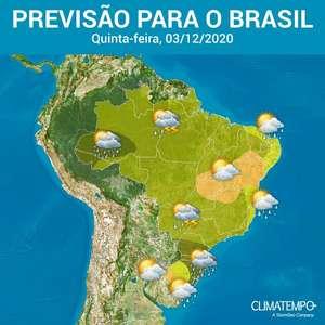 Brasil tem calor e chuva forte nesta quinta