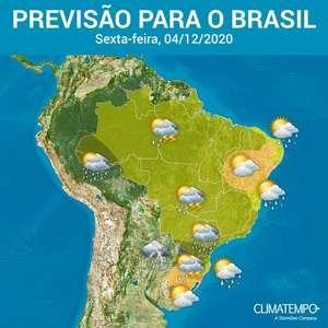 Risco de chuva forte em quase todo o Brasil nesta sexta