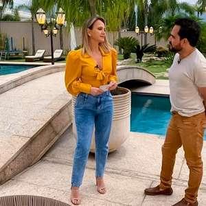 Luciano Camargo recebe a apresentadora Eliana em sua casa neste domingo