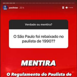 Organização do Paulista nega rebaixamento do São Paulo em 90