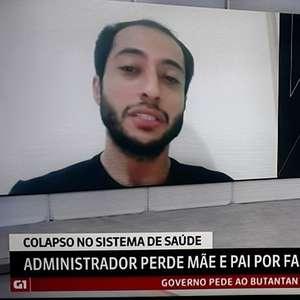 Homem que perdeu pai e mãe sem oxigênio chora na GloboNews